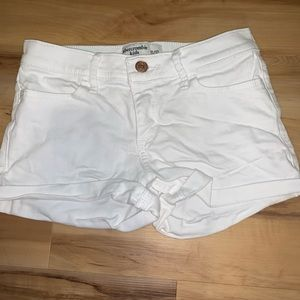 abercrombie kids white jean shorts